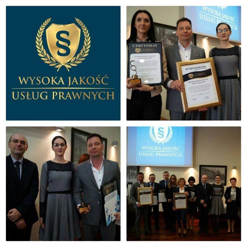 Zdobyliśmy Certyfikat Wysokiej Jakości Usług Prawnych